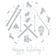 Vector illustration of different elements of sports equipment and clothing for winter sports arranged in a circl.
