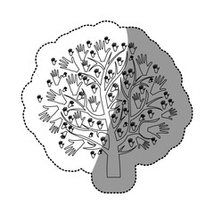 monochrome background sticker of tree with leaves in shape of hands vector illustration