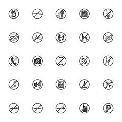 prohibition icon set