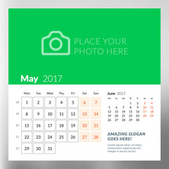 Calendar Template for May 2017. Week Starts Monday. Design Print Template. Vector Illustration Isolated