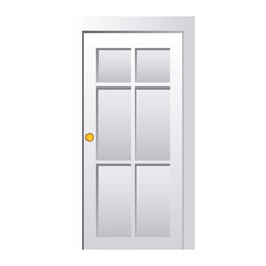 realistic closed white entrance door vector illustration