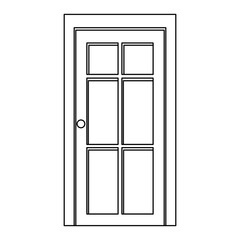 silhouette closed white entrance door vector illustration