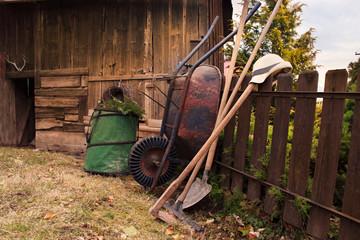 Gardening Tools on House Yard