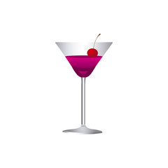 colorful realistic martini drink cocktail glass with cherry vector illustration
