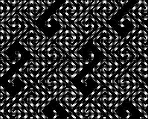 Halftone round black seamless background spiral geometry line