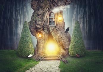 Fairy tree house in dark fantasy forest