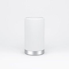 White paper Tin Can packaging with metal lid. 3d rendering