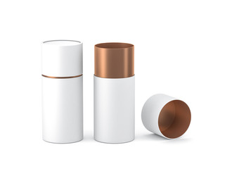 Opened White with gold paper tube tin can Mockup, 3d rendering