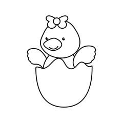 newborn little duckling cartoon vector icon illustration