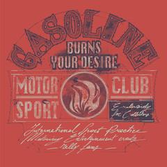 Vector graphic emblem for motor sports. Logo, sticker, label.