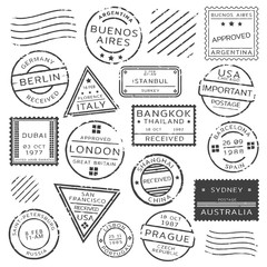 Monochrome Retro Postage Stamps Set