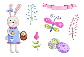 Easter watercolor elements. Cute Easter bunny with basket, eggs, flowers. Set of hand drawn watercolor illustrations.