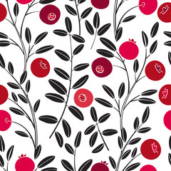 Seamless vector pattern with cranberry on a white background.