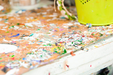 used paint palette, watercolors, brush - art lesson