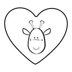 giraffe animal inside line heart, vector illustration