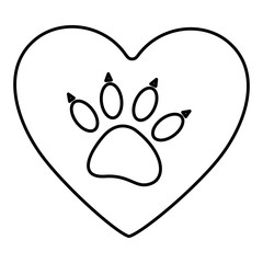 paw print cute dog animal inside line heart, vector illustration