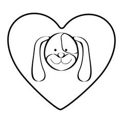 dog animal inside line heart, vector illustration