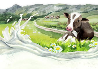 Cow in a landscapeand milk wave. Watercolor background