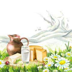 Milk splash and wave. Watercolor background