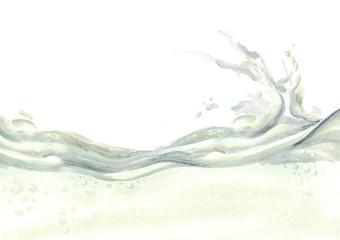 Milk wave. Hand drawn watercolor