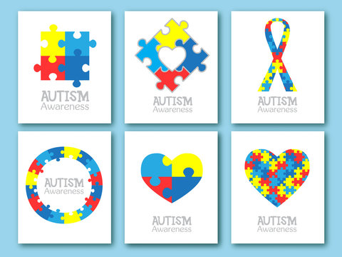 World autism awareness day. Colorful puzzle symbol of autism. Vector illustration. Medical flat illustration. Health care. Set of card, invitation, poster design template. Collection of design element