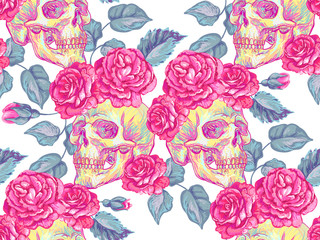 Seamless Mexican pattern with skulls and roses, leaves. Rose summer floral design vector background. Perfect for wallpapers, pattern fills, web page backgrounds, surface textures, textile