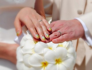 Wedding rings.  A couple exchange rings at a tropical wedding.