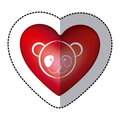 sticker bear animal inside red heart, vector illustration