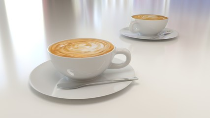 a cup of hot coffee on white table 3d rendering