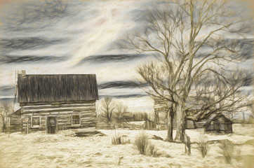 charcoal drawing effect of log cabin homestead with trees and sky