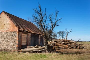Old barn. A pile of firewood. Farm building.