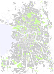 Vector map Saint Petersburg park gray and white