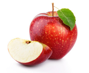 Red apple fruit with green leaf and section isolated on a white