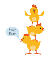 Easter chickens for holidays design on white background.