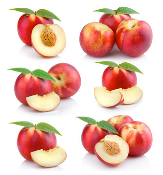 Set of ripe peach (nectarine) fruits with slices isolated on white