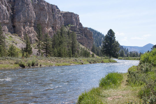Montana river and mountains