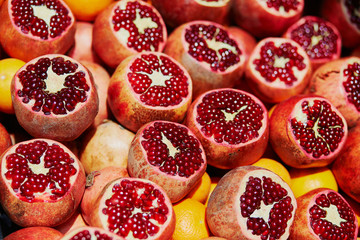 Heap of ripe pomegranates on a farmer market in Istanbul, Turkey