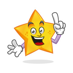 Smart star mascot, clever star character, star cartoon vector