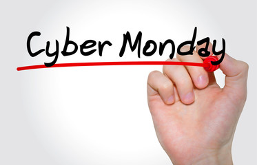Hand writing inscription Cyber Monday with marker, concept