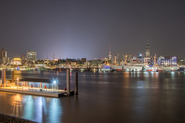 nightly panorama from the harbour of hamburg germany