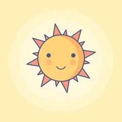 Sunny Smile Line Minimal Style Vector Illustration