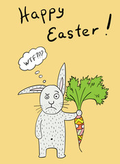 bewildered Easter Bunny with carrot pattern