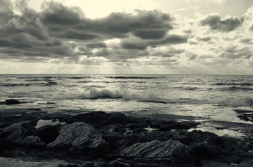 background of beach and sea, black and white image