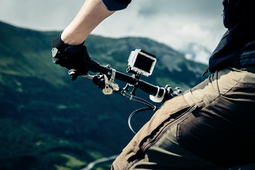 Action Camera Mounted On Mountain Bike Wall mural