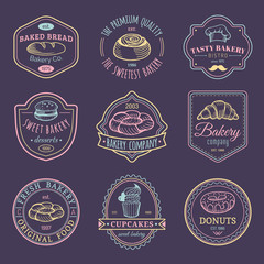 Vector set of vintage bakery logos. Retro emblems collection with sweet cookie. Hipster pastry icons for cafe, shop etc.