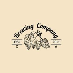 Vector vintage hops logo. Brewery herbs design. Hand sketched beer, ale or lager plant illustration.