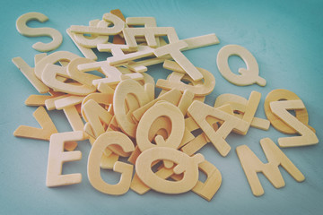 Set of a wooden letters of the English alphabet