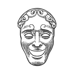 Comedy theater mask. Vector engraving vintage black illustration.