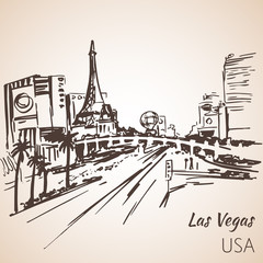 Las Vegas cityscape sketch.