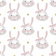 Seamless little bunny pattern. Vector background with cute rabbits for girls design.